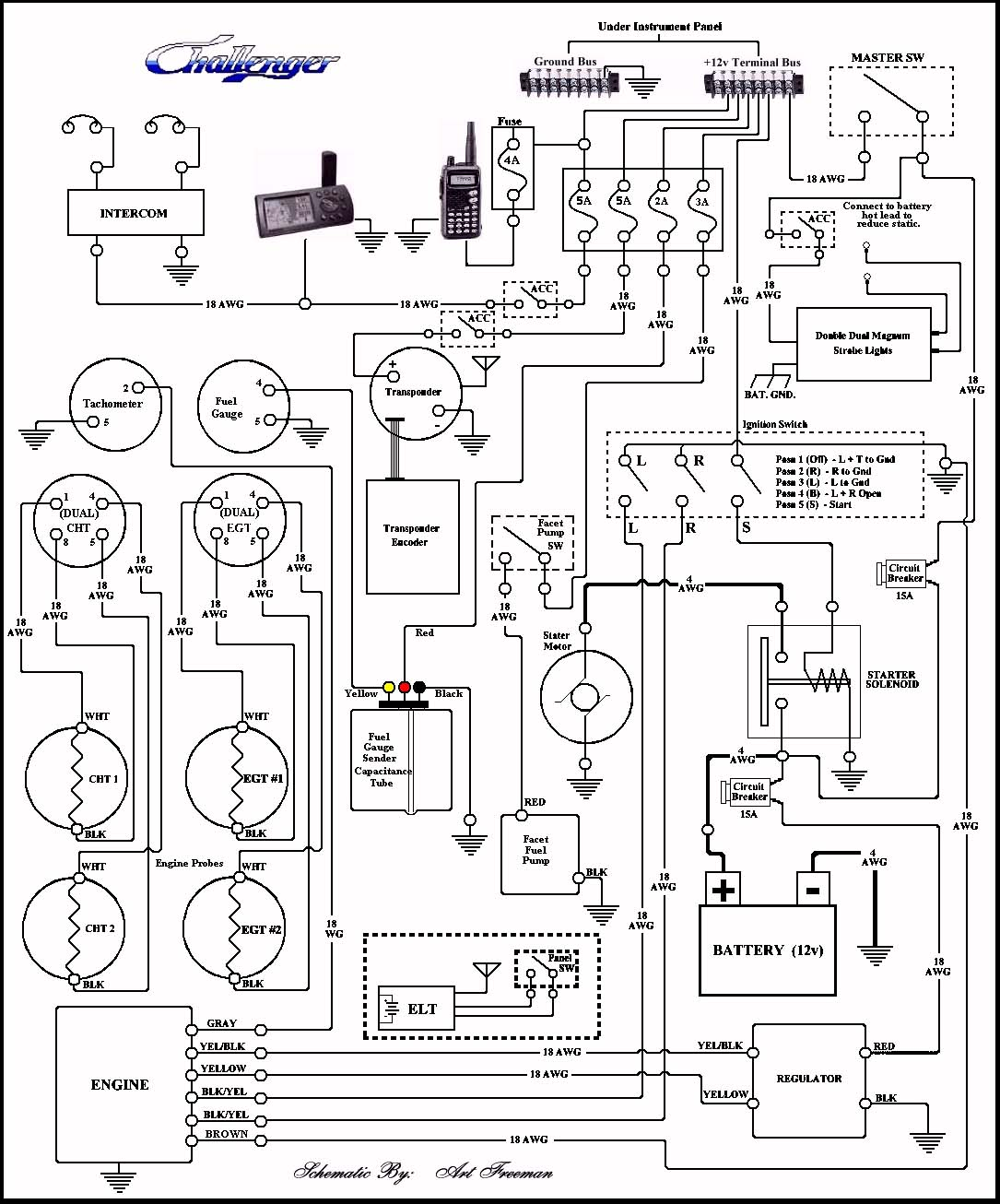 Schem_Analog basic wiring of fuselage, instruments and power source aircraft intercom wiring diagram at eliteediting.co